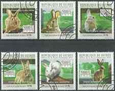 Timbres Animaux Lapins Astrologie Guinée 5152/7 o de 2010 lot 29071 -cote : 15 €