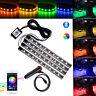 4x 9 LED RGB Light Strip Car Atmosphere Phone App Music Control Interior Kit 12V