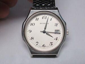 Bucherer 17 Jewel Manual Wind Stainless Steel Men's Wrist Watch-PRESENTLY WORKS
