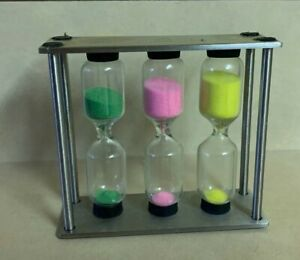 3 min (Green), 4 min (Pink) & 5 min (Yellow) connected metal set of 3 Hourglass