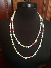 """VTG Art Deco Faceted & Milk Art Glass Beads Flapper Necklace 52"""" W GERMANY"""