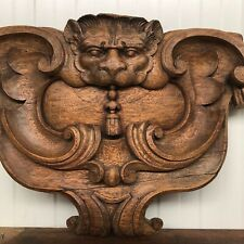 Stunning 19th C. French Gargoyle/Lion/Dragon Wall Pediment Carving