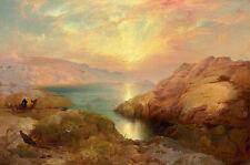 Coastal Scene sunset THOMAS MORAN giclee art CANVAS print