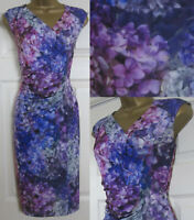 NEW M&Co Ladies £42 Floral Print Bodycon Shift Dress Occasion Purple Pink 8-20