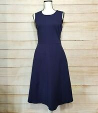 Lands' End women's 10 navy blue a-line dress sleeveless pockets zipper stretch