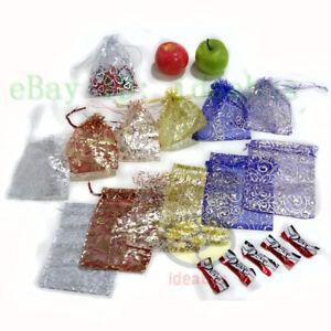 """25/50/100pcs Print Pattern Organza Pouches Jewelry Wedding Favor Bags 6.7""""x4.73"""""""