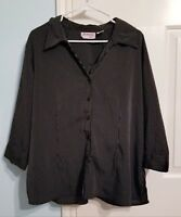 JOANNA PLUS WOMENS 3/4 SLEEVE BUTTON FRONT pinstripe BLOUSE  SIZE 1x