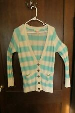Tulle Sweater Anthropologie Cardigan Long Sleeve Large Green Beige Pockets Shirt