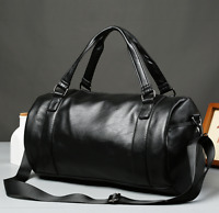 Men's Large Roll Handbag Travel Duffle Gym Leather Luggage Bag Tote Shoulder Bag
