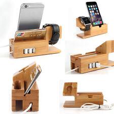 Bamboo Lade Station Für Apple Watch iPhone Halterung Dockingstation USB Port DHL