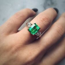 Wedding Ring In 925 Sterling Silver 2.30Ct Green Emerald Shaped Stone Engagement