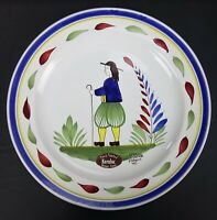 """Keraluc Quimper France 8"""" Plate Man Folk Art Traditional Hand Painted Pottery"""