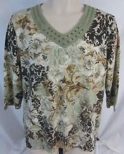 Coral Bay Floral Multi-Color 3/4 Sleeve V-Neck Blouse Shirt - Women's XL - DD127
