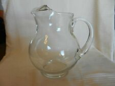 "Vintage Clear Glass Water Drink Pitcher with Ice Guard 8.5"" Tall"