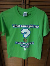 2013 What Can a Girl Do..World of Good Bright Green T-Shirt Girls Med 10-12
