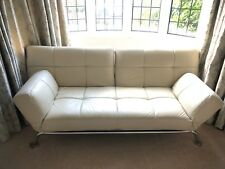 Sofa bed. White Leather. 4- seat / double bed. Adjustable armrests. Chrome legs