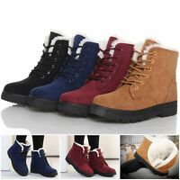 Winter Women's Fashion Fur Lining Round Toe Lace Up Warm Ankle Boots Snow Shoes