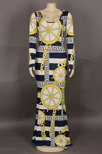 GOLD CHAIN-NAUTICAL PRINT LYCRA GOWN/DRESS/COSTUME/DRAG QUEEN/ 12-18 (Maybe 20)