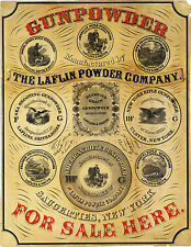 """Gunpowder For Sale Here"" Gun Powder Laflin 1850 Advertisement Wall Art Print"