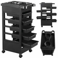 Black Trolley Rolling Tray Cart 5 slide out Drawers Nail Technicians Pet Groomer