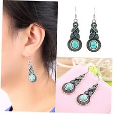 1 Pair Women Vintage Turquoise Crystal Bead Ear Hook Dangle Earrings Jewelry PO
