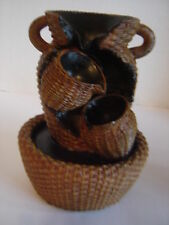 """7"""" DECORATIVE BASKET WEAVE TABLETOP FOUNTAIN TIERED ARTISTIC WATERFALL EFFECT"""