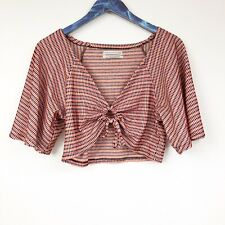 Urban Outfitters Front Tie Red Black Crop Top