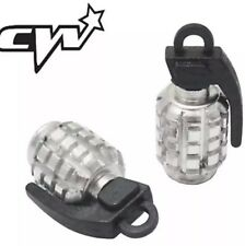 2pcs Grenade Shape Car Motorcycle Bicycle Tyre Valve Dust Cap Cover Silver Bmx