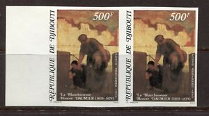 DJIBOUTI 1979, ART, PAINTING BY H. DAUMIER, Scott C127 PAIR - IMPERFORATE, MNH