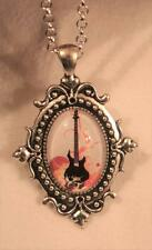 Striking Ball Clustered Swirls Orange Brown Rock & Roll Guitar Silvertn Necklace
