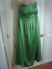 David's Bridal Green Strapless Polyester Ruched Bust Bridesmaid/Formal Dress 18