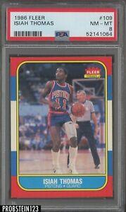 1986 Fleer Basketball #109 Isiah Thomas Pistons RC Rookie HOF PSA 8 NM-MT