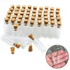 10x/Set Mini Klar Flasche Glasflasche Wishing Glück Glasfläschchen mit Korken DE