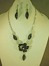 HANDPAINTED BLACK FLOWER, SILVER AND RHINESTONE NECKLACE AND EARRING SET