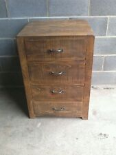 NEW SOLID WOOD RUSTIC CHUNKY PLANK CHEST OF DRAWERS 4 DRAWER CHEST