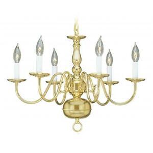 Livex 5006-02 Williamsburg Chandelier- Polished Brass