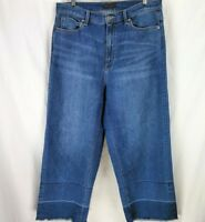 Uniqlo High Rise Wide Leg Cropped Frayed Jeans Size 10 30 32 x 24