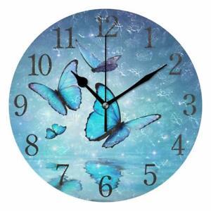 "Wall Clock 9.44"" Butterflies Blue Magical Fairy Nature Shabby Chic Farmhouse"