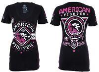 AMERICAN FIGHTER Womens T-Shirt MASSACHUSETTS Athletic BLACK PINK Biker $40