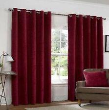 Chenille Solid Pattern Eyelet Top Curtains & Pelmets