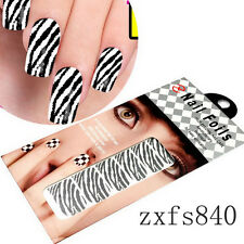 1x Salon DIY Zebra pattern Nail Art Design Wraps Foil Decal Decorations Free Shi