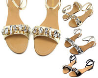 Ambra-69 Fashion Precious Stone Flats Cute Gladiator Sandals Party Women Shoes