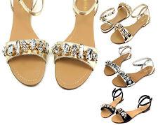 3b6a90e39f9 Ambra-69 Fashion Precious Stone Flats Cute Gladiator Sandals Party Women  Shoes