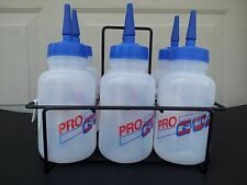 Pro Guard Plastic Water Bottle Set of 6 and Holder Long Neck