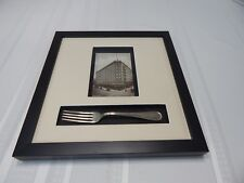 Framed & Matted 1900's Narragansett Hotel Providence RI. Post Card & Dinner Fork