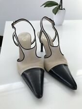 0ba6cdf4b0 CHANEL Beige & Black Patent Leather Sling Back Pointy Pump 39 Made In Italy
