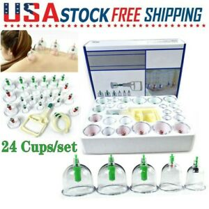 24 Cups kit Medical Chinese Vacuum Cupping Body Massage Therapy Healthy Suction