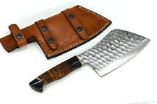 Handmade Professional chef cleaver Kitchen Chopper With Leather Sheath Full Tang