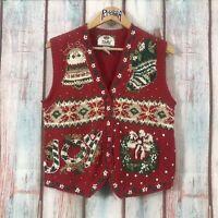 Vintage Womens Tiara International Christmas Sweater Vest Joy Beaded Size Large