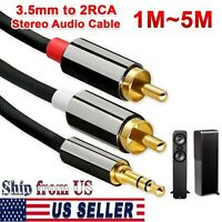 AUX Auxiliary 3.5mm Audio Male to 2 RCA Y Male Stereo Cable Cord Wire MP3 iPod